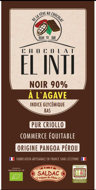 Chocolate Negro 90% Con Agave 100 Gr