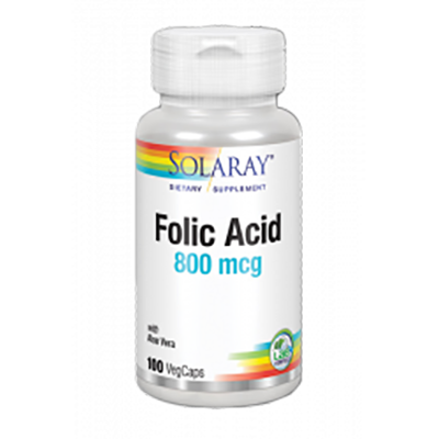 Acido Folico 800 mg. - Solaray - 100 cápsulas vegetales