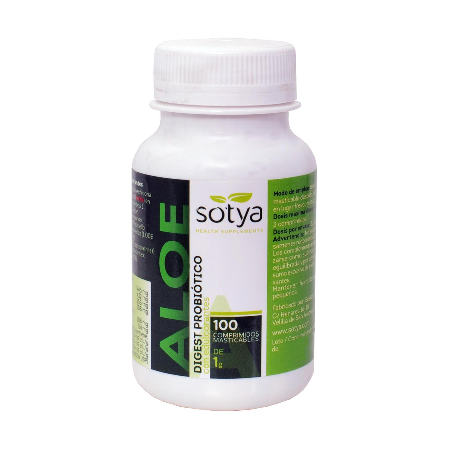 Aloe Digest Probioticor Masticable - Sotya - 100 comprimidos masticables