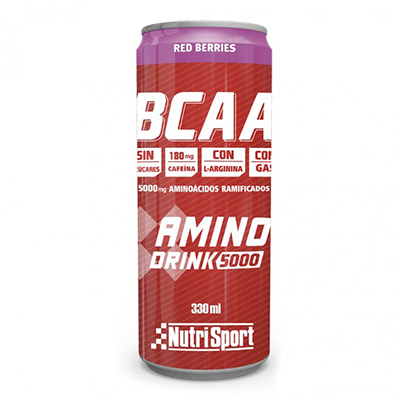 Aminodrink 5000 con Cafeína Red Berries - NutriSport - 330 ml.