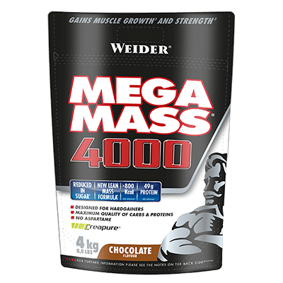 Gainer Mega Mass 4000 Chocolate Bag (Nueva Formula) - Weider - 4 kg.
