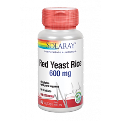 Red Yeast Rice 600mg. - Solaray - 45 cápsulas vegetales