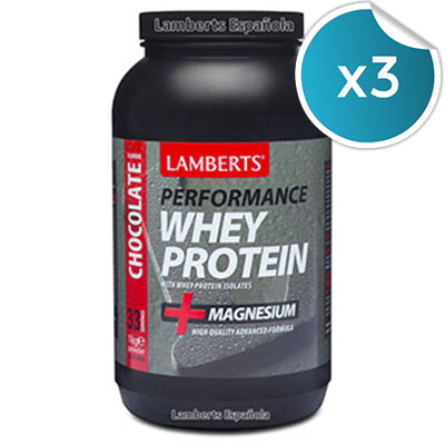 Whey Protein. Chocolate- Lamberts - 1 kg. (Pack 3 unidades)