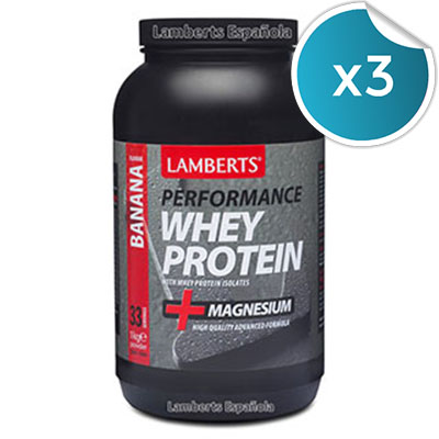 Whey Protein. Plátano - Lamberts  - 1 kg. (Pack 3 unidades)